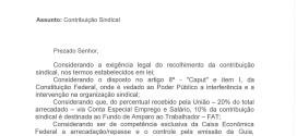 Contribuição Sindical- Ofício da Superintendente Regional do Trabalho e Emprego